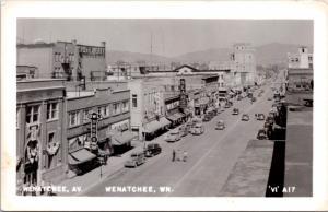 Wenatchee Ave Wenatchee WA Washington Owl Drugs Kress Sears RPPC Postcard E22