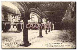 Old Postcard Besancon Granvelle Palace Arcades and Statue of Cardinal Granvelle