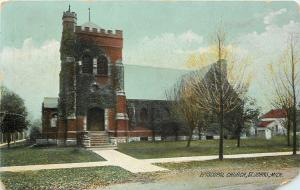 St Johns Michigan~Episcopal Church~Out Building~House Behind~1907 Rotograph