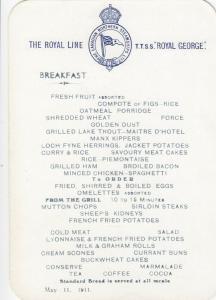 Royal Line Ocean Liner T.T.S.S. ROYAL GEORGE 1911 ; Breakfast, May 11
