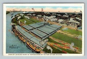 New Orleans LA, Aerial of Port & Cotton Warehouses, Vintage Louisiana Postcard