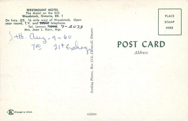 Woodstock Ontario~Westmount Motel~Folks in Lawn Chairs~Hillside Letter Sign~1960