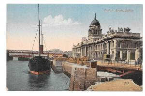 Ireland Dublin Customs House Ship Dock Boat Vintage Valentine's Postcard