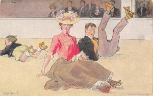 R Hill Comic~Bang!! Victorian Couple Fall Roller Skating~Series 3~1907 Geo Brill