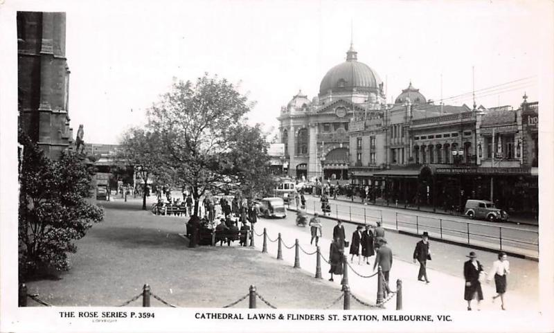 Australia Melbourne Cathedral Lawns and Flinders St Station real photo