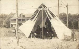 Camp Roosevelt Tent Camping 1910 Real Photo Postcard MYRTLE BEACH MILFORD?