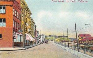 Front Street, San Pedro, California Street Scene ca 1910s Vintage Postcard