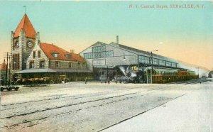 C-1910 New York Central Railroad Train Depot Syracuse New York Postcard 20-3746