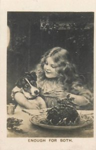 Photo card popular picture  Enough for Both  girl & dog pet