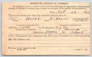 Iberia MO Resident~Change of Address~Soldier Wayne H Ahart~War Dept WWII 1943