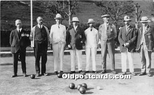 Old Vintage Lawn Bowling Postcard Post Card Lawn Bowlers Real photo Unused