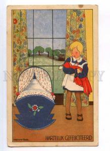 245403 ART DECO Girl w/ DOLL by HENNY BOX Vintage BIRTHDAY PC