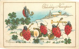 Postcard drawings Bonne Annee bugs