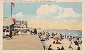 POINT PLEASANT BEACH NEW JERSEY~BUSY AFTERNOON ALONG BOARDWALK POSTCARD 1920s