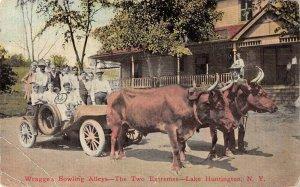 Lake Huntington New York Wragge's Bowling Alley's Ox and Car Postcard JJ658889