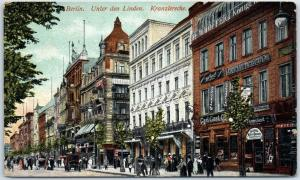 Berlin, Germany Postcard UNTER DEN LINDEN Street View w/ Café Kranzler c1910s