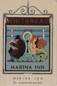 Marina Inn St Leonards On Sea Pub Inn Whitbread Metal Sign Advertising Rare Card