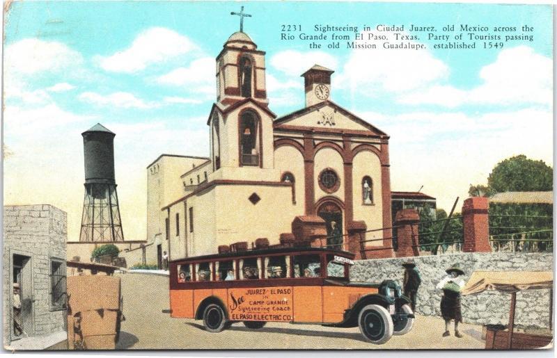 Sightseeing Bus, Tourists in Ciudad Juarez Mexico Vintage c1929 Postcard H21