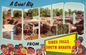 Sioux Falls South Dakota~Great Big Large Letter Hello~Cartoon People~1950s PC