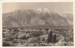 RP: INDIO , California, 1938; Mt. San Jacinto from Devil's Cactus Garden