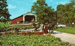 Soudersburg Covered Bridge, Pennsylvania, PA, Chrome Vintage Postcard h3757