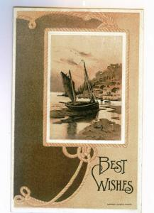 Ludlowville to Ithaca, New York 1909 used Embossed Greeting Postcard, Boat