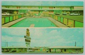 Lufkin Texas~ShangriLa Motel & Restaurant~Pool~Heart of the Piney Woods~Postcard