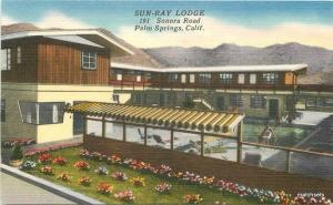 1940s Sun Ray Lodge roadside Palm Springs California Sellers linen postcard 4706
