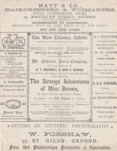 Miss Brown Visits Colchester Essex Oxford Comedy Victorian Theatre Programme