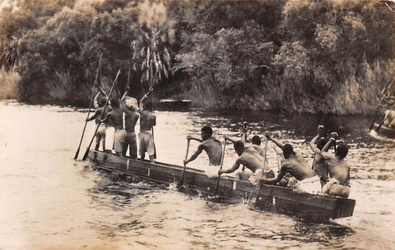 Zimbabwe Zambezi River above Victoria Falls, Native Canoe real photo