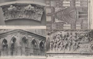 Bourges Cathedrale Porte St Guillaume Les Damnes Sculpture 4x French Postcard