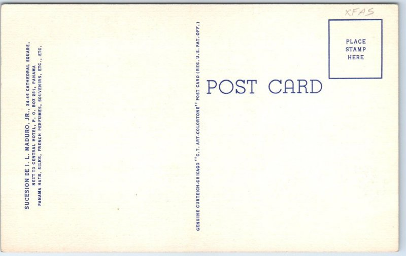 Vintage JUST ARRIVED IN PANAMA Postcard I.L. Maduro Curteich Linen c1940s