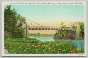 Amesbury Massachusetts~Old Chair Bridge Merrimack River~1940s Linen Postcard