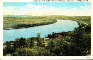 Ohio Gallipolis Scene On Ohio River From Mound Hill Cemetery 1945 Curteich