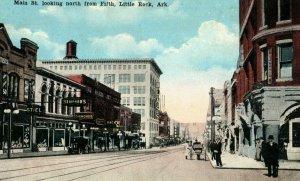 Vintage Main St. Looking North, Little Rock, Ark. Postcard P174