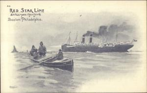Red Star Line Steamships & Fishing Boat A4 1905 Cassiers Postcard EXC COND