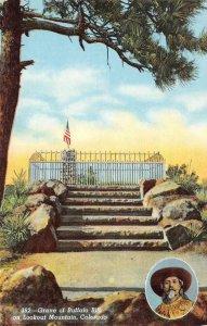 Cowboy Grave of Buffalo Bill, Lookout Mountain, Colorado c1940s Vintage Postcard