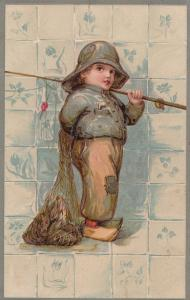 Fisherman Child Boy With Fishing Net Full Of Live Fish German Old Postcard