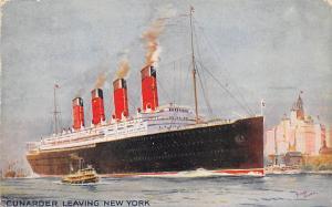 Cunard Line Ship Postcard Old Vintage Steamer Antique Post Card 1914