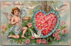 1910 VALENTINE'S DAY Postcard Loving Greetings Cupid Bow & Arrow /Floral Heart