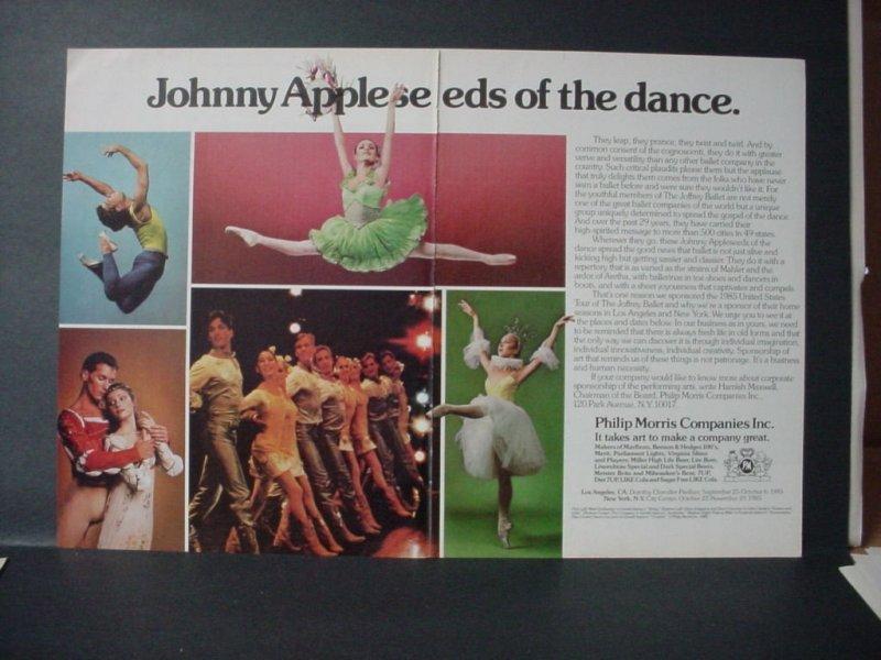 1985 Philip Morris Cigarette Joffrey Ballet Johnny Appleseed VTG Print Ad 10967