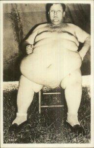 Circus Sideshow Fat Man in the Nude Jumbo Finn Real Photo Postcard