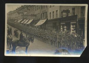 RPPC LONDON ENGLAND UK DOWNTOWN WWI VICTORY PARADE REAL PHOTO POSTCARD