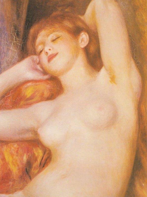 Renoir La Dormeuse Risque Painting Postcard
