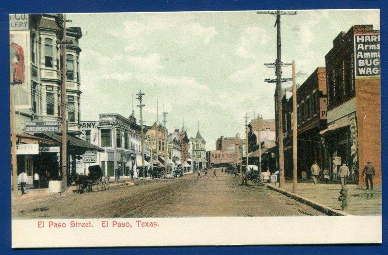 EL Paso Texas EL Paso Street view horse buggy old postcard #1