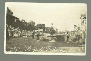 Nashua IOWA RPPC 1912 TRAINED HORSE ACT Big 4 Fair MAKING JUMP nr Charles City