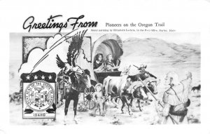 RPPC Oregon Trail Pioneers Burley, Idaho Mural Western c1950s Vintage Postcard