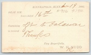 Minneapolis Minnesota~WH Nudd Eave Troughs Mfg~S Main~Savanna IL~1883 Postal
