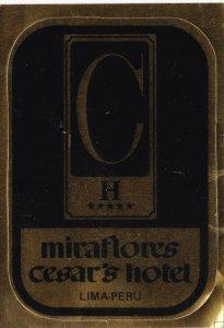 Peru Lima Miraflores Cesars Hotel Vintage Luggage Label lbl0138
