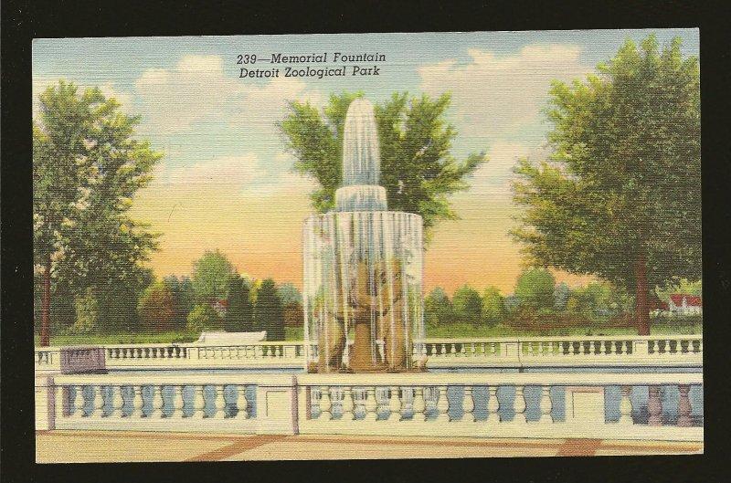 USA Postmark 1947 Detroit Mich Memorial Fountain Zoo Park Linen Postcard
